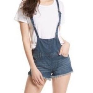 Free People Denim Frayed Hem Short Overalls NWT